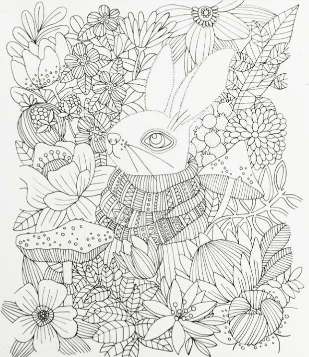 Rabbit Amongst Flowers Colouring Page Tonjq Ausmalen