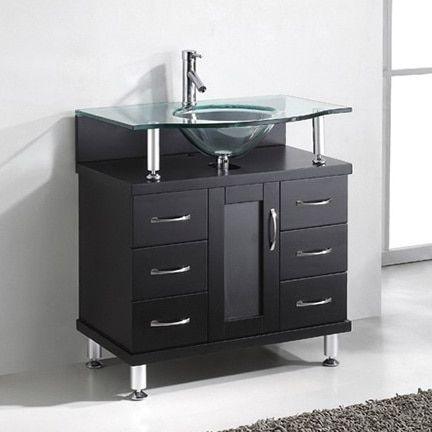 Virtu USA Vincente 32-inch Single Sink Bathroom Vanity Set, Brown