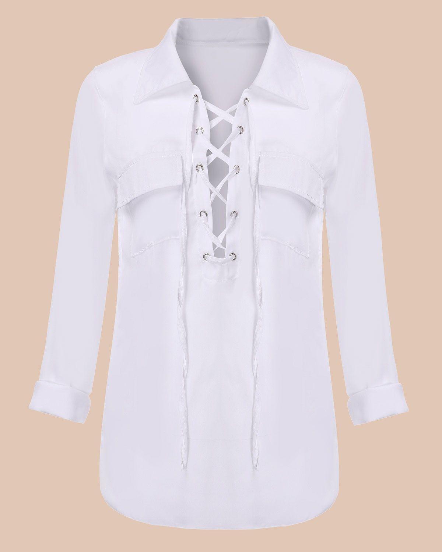 e3545b8b0599 2016 Sexy V neck Lace Up Black White Chiffon Blouse Shirt Women Tops ...