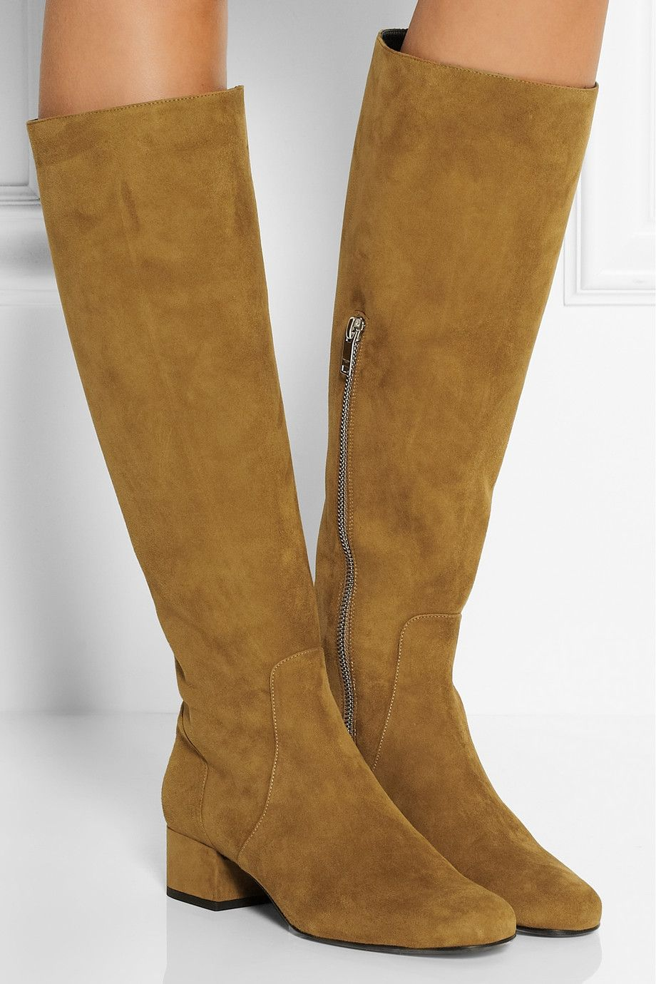 Saint Laurent Suede Knee-High Boots clearance 2014 newest best place for sale clearance clearance 5QJSFgf6h
