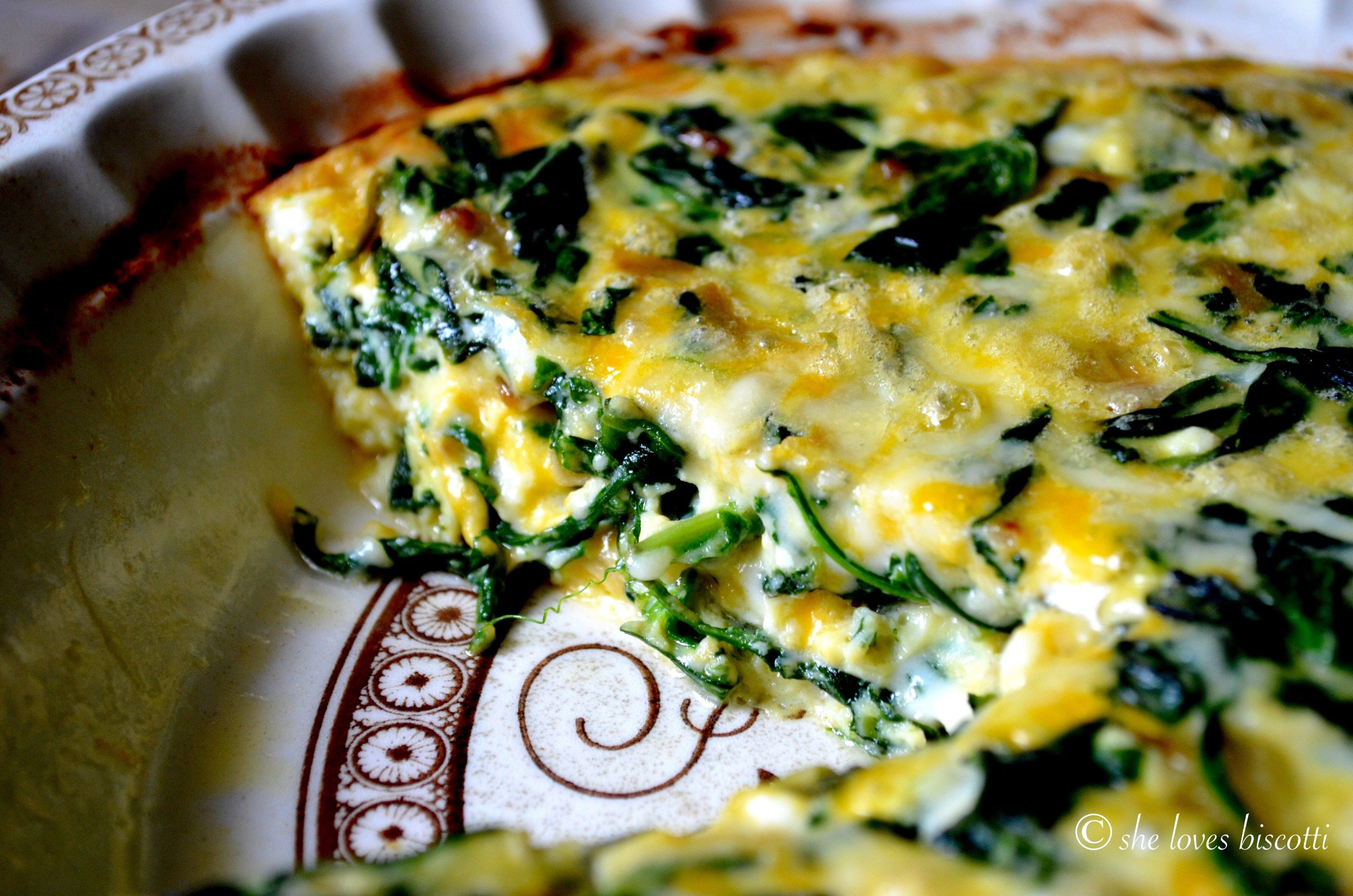 How to make crustless quiche with spinach