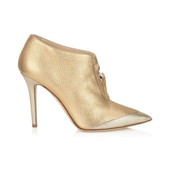 1bab35bf005 Gold Metallic Grainy Leather and Light Gold Caviar Leather Shoe...  (11.670.640 IDR) ❤ liked on Polyvore featuring shoes