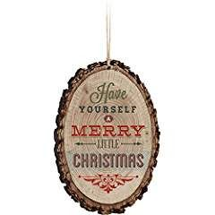 Have Yourself A Merry Little Christmas Rustic Bark Look Wood Christmas Ornament #haveyour ...