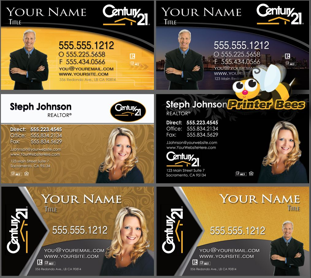 Century Business Cards NEW Designs Available At PrinterBees - Century 21 business cards template