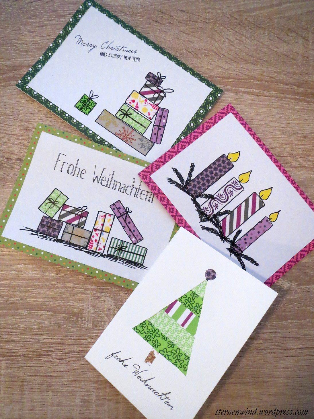 diy weihnachtskarten mit washitape und motivpapier weihnachtskarten weihnachten und karten. Black Bedroom Furniture Sets. Home Design Ideas