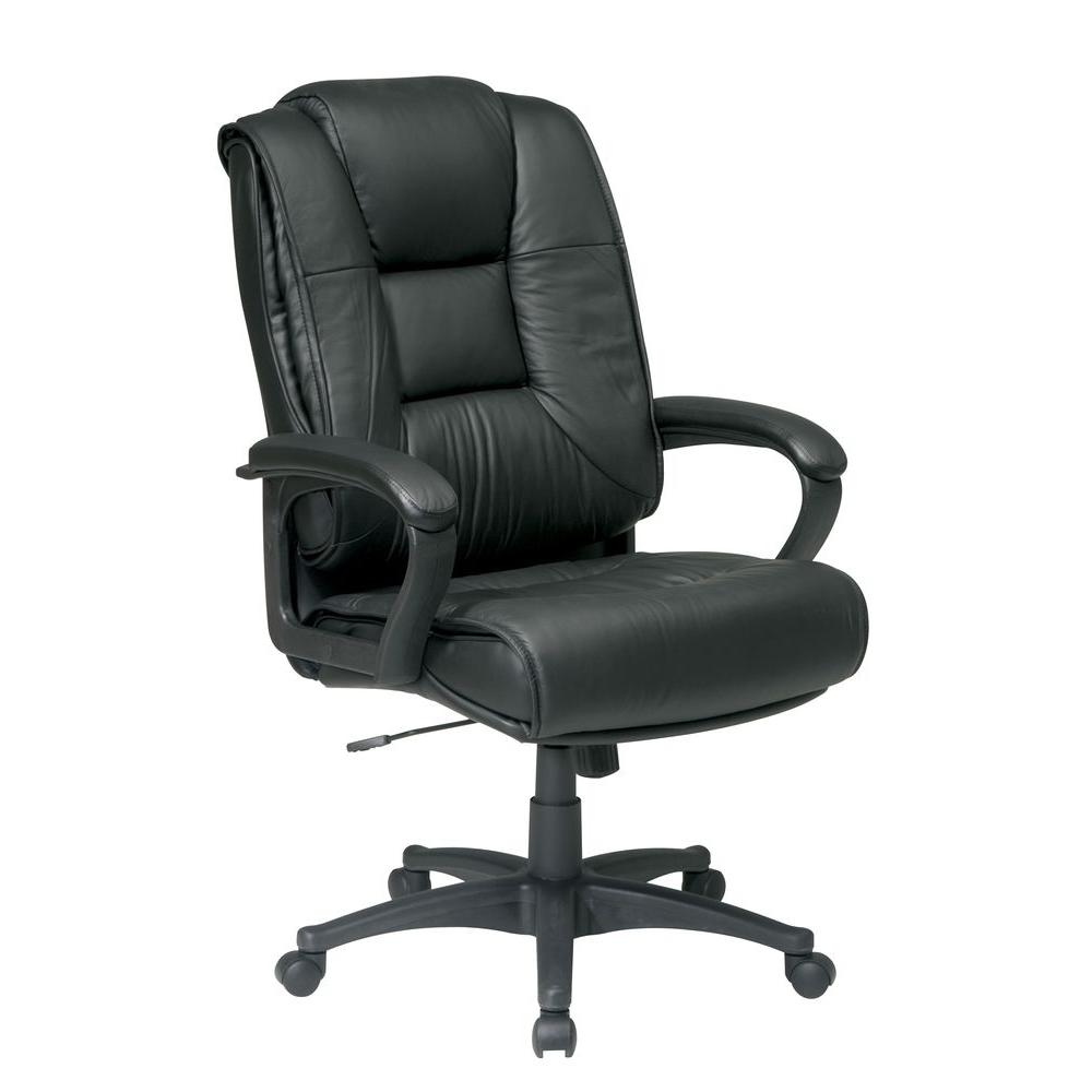 Office Star Products Black Leather High Back Office Chair Ex5162 G13 The Home Depot Leather Office Chair High Back Office Chair Office Chair Leather high back office chair