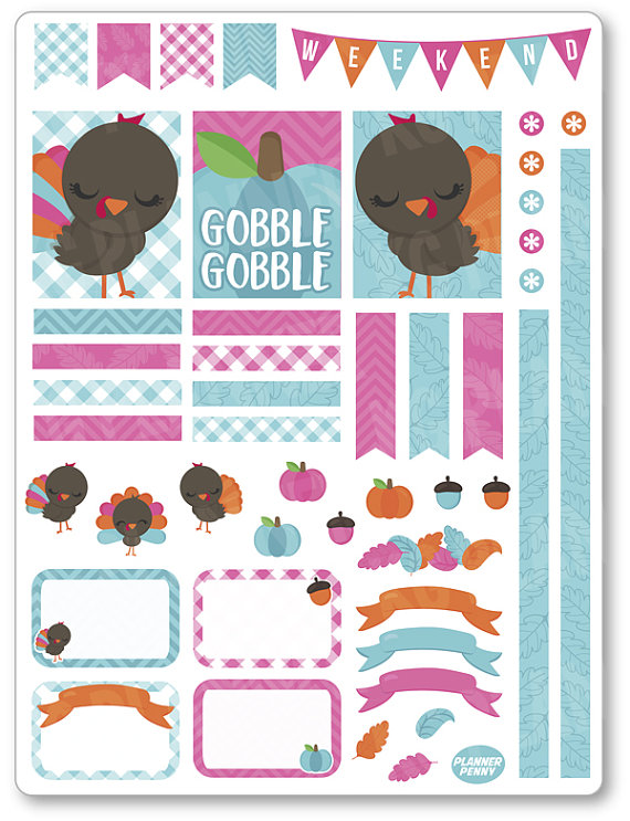 Gobble Gobble Decorating Kit / Weekly Spread by PlannerPenny