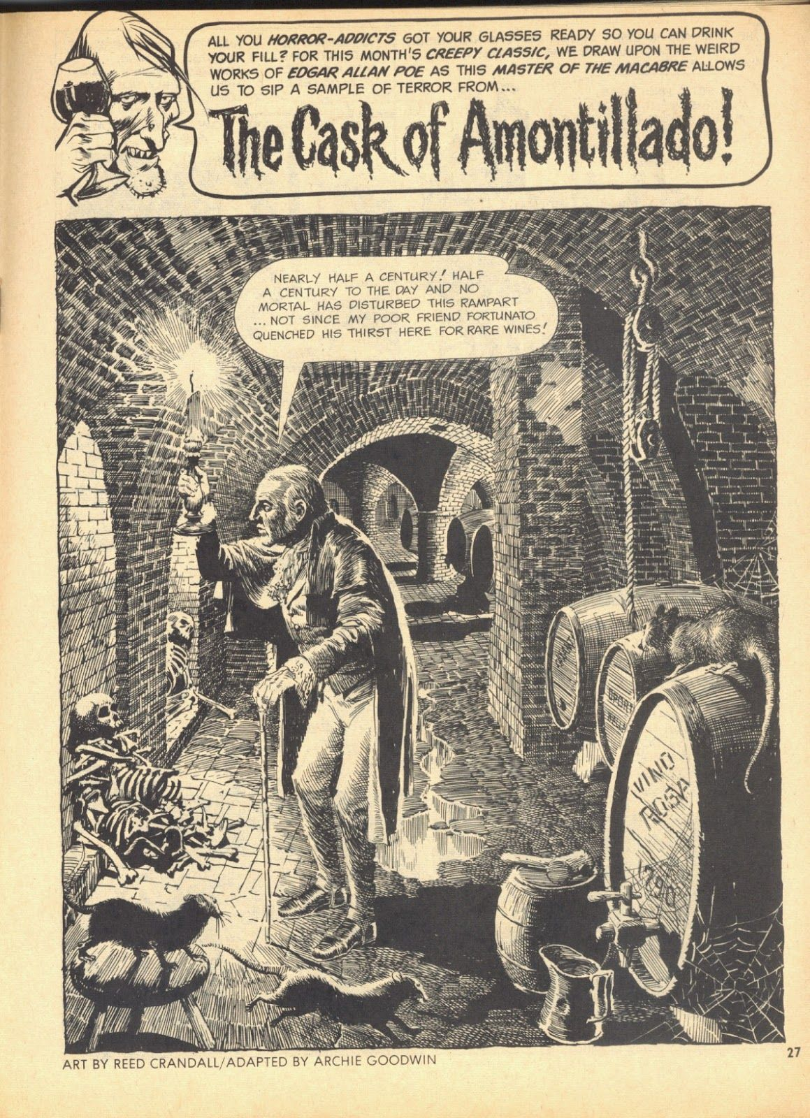 """Reed Crandall moody splash page from Edgar Alan Poe's """"The Cask of  Amontillado"""" in Creepy #6, which was later reprinted in Creepy #20 & #74."""