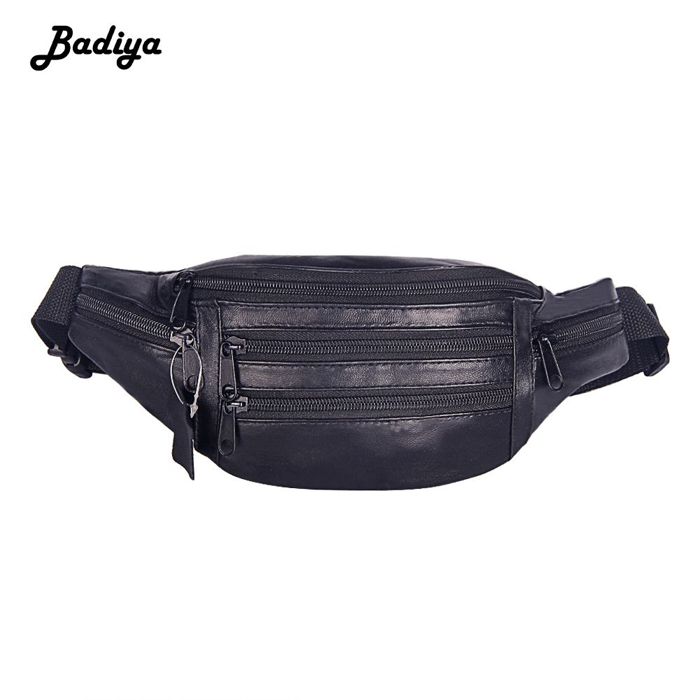 7a4cc773e4ea Fashion Genuine Leather Men Belt Bag Multiple Zipper Adjustable ...