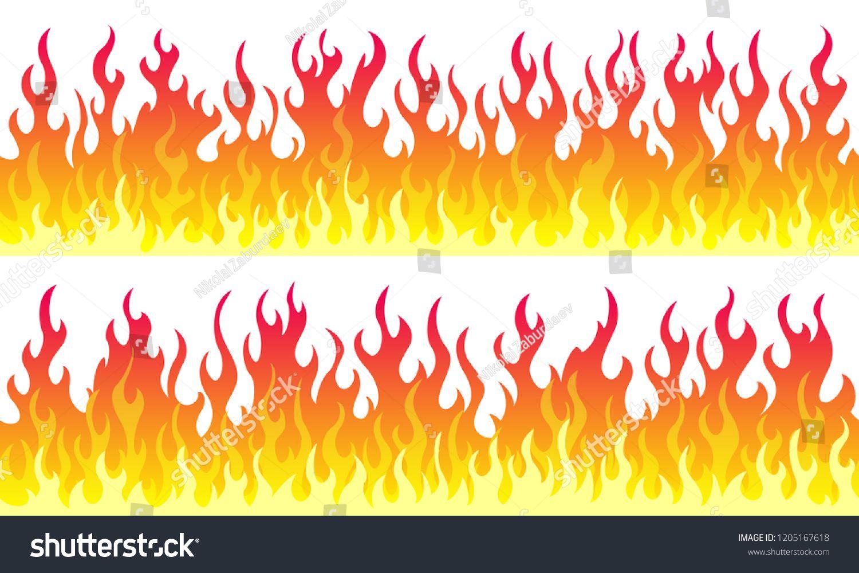 Cartoon Fire Flame Frame Borders Seamless Orange Fire Border Flame Frame Cartoon Fire Graphic Art Prints Fire Art Fire