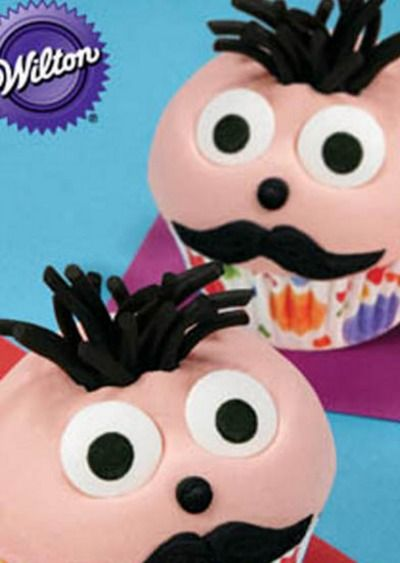 Mustache Man Cupcakes -- a fun and silly dessert recipe kids will love. | foodcrafting