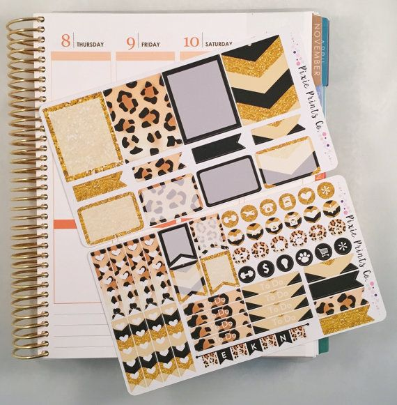 Leopard print sticker kit for erin condren vertical life planner kit includes two sheets of