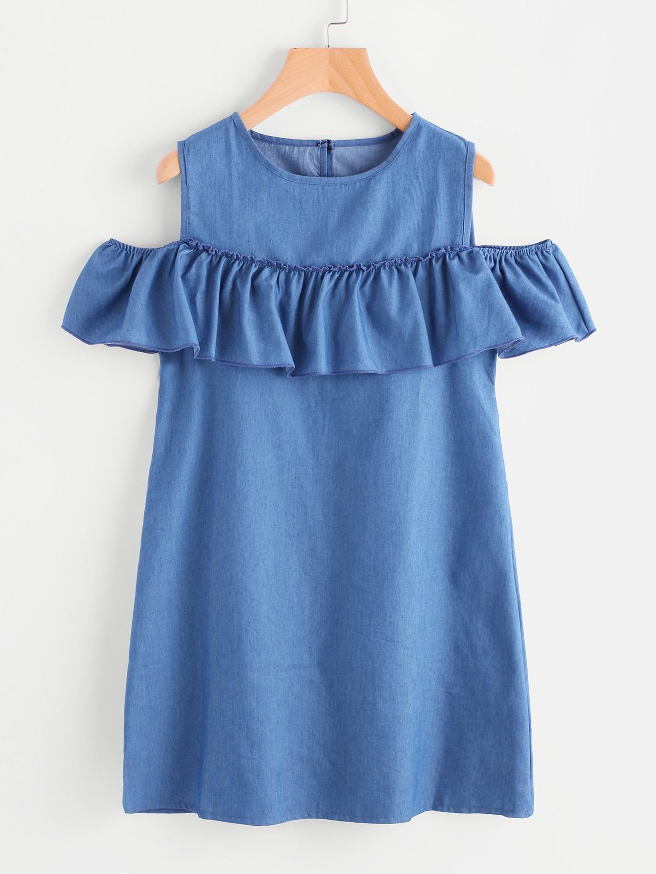 737ac4ee22  mothersday  AdoreWe  SheIn -  SheIn Open Shoulder Frill Trim Chambray Dress  - AdoreWe.com