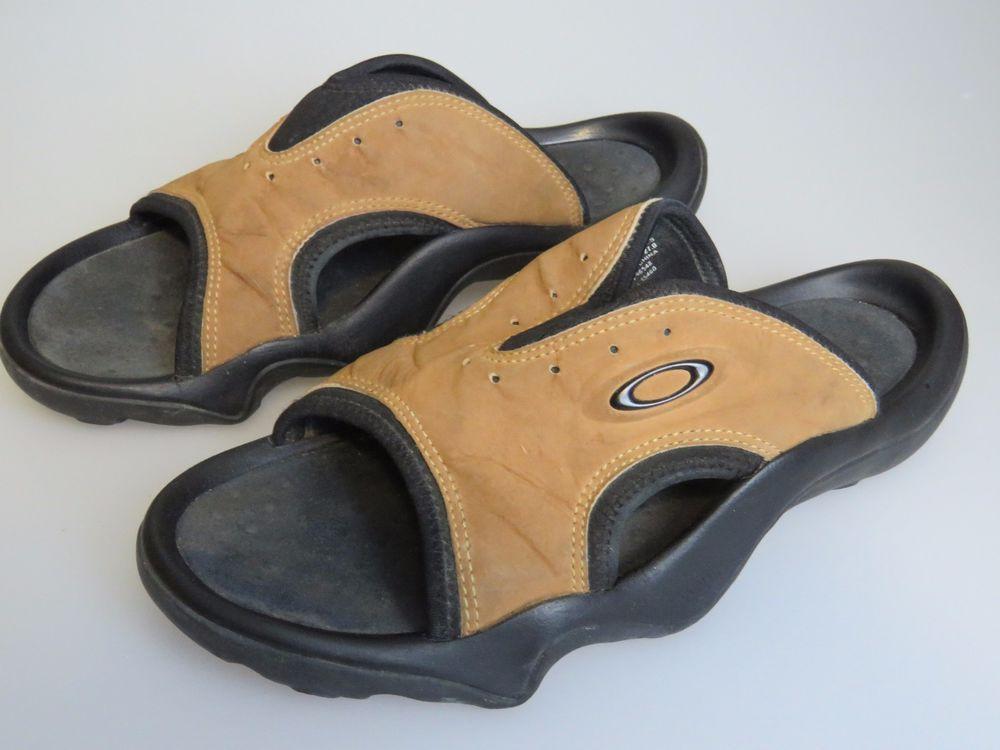 27988f2a055e OAKLEY Smoke Slides Sandals Brown Black Shoes Men s US Size 9  READ ...