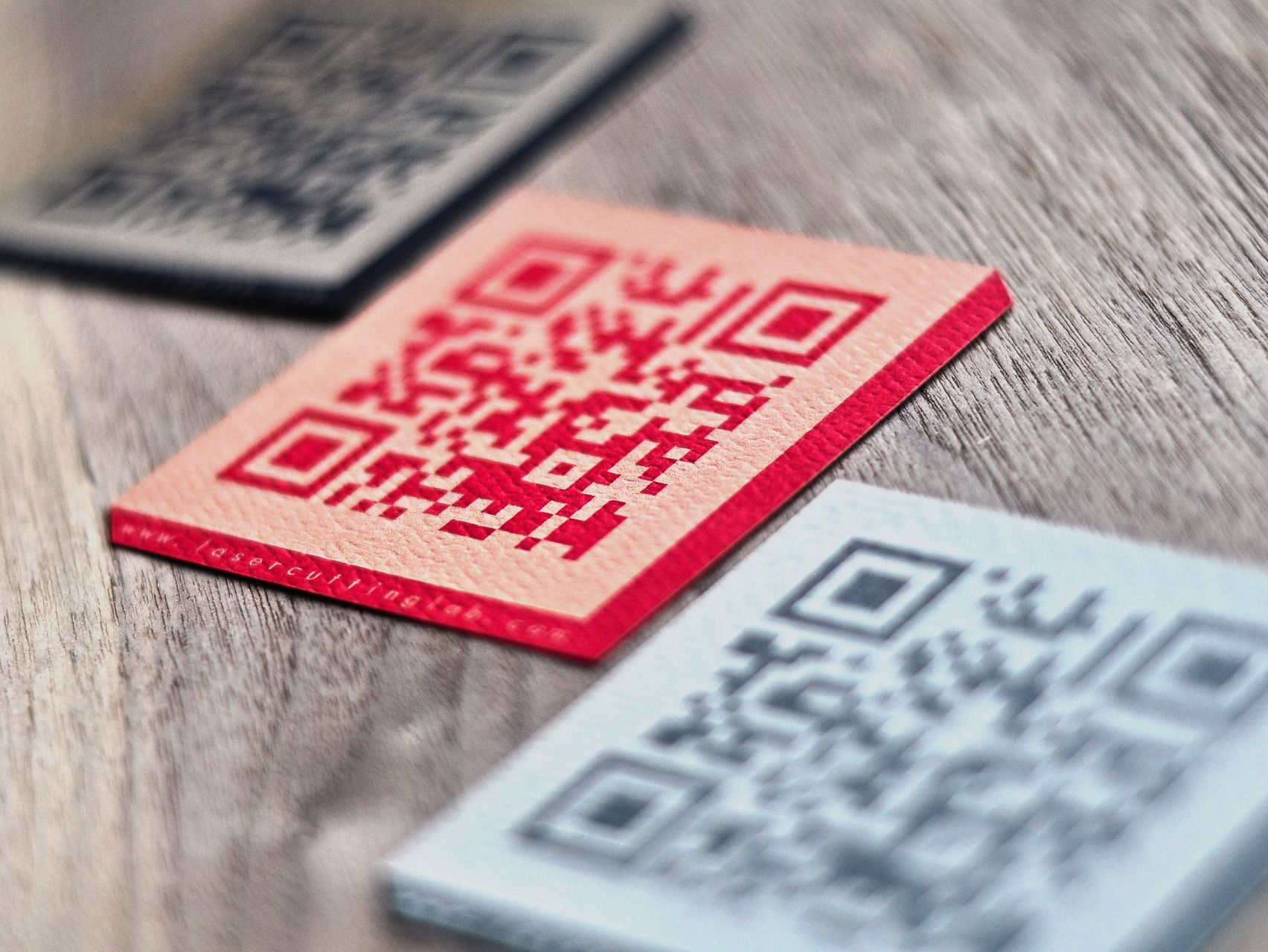 Laser Engraved Card Stock in various colors. QR code business ...