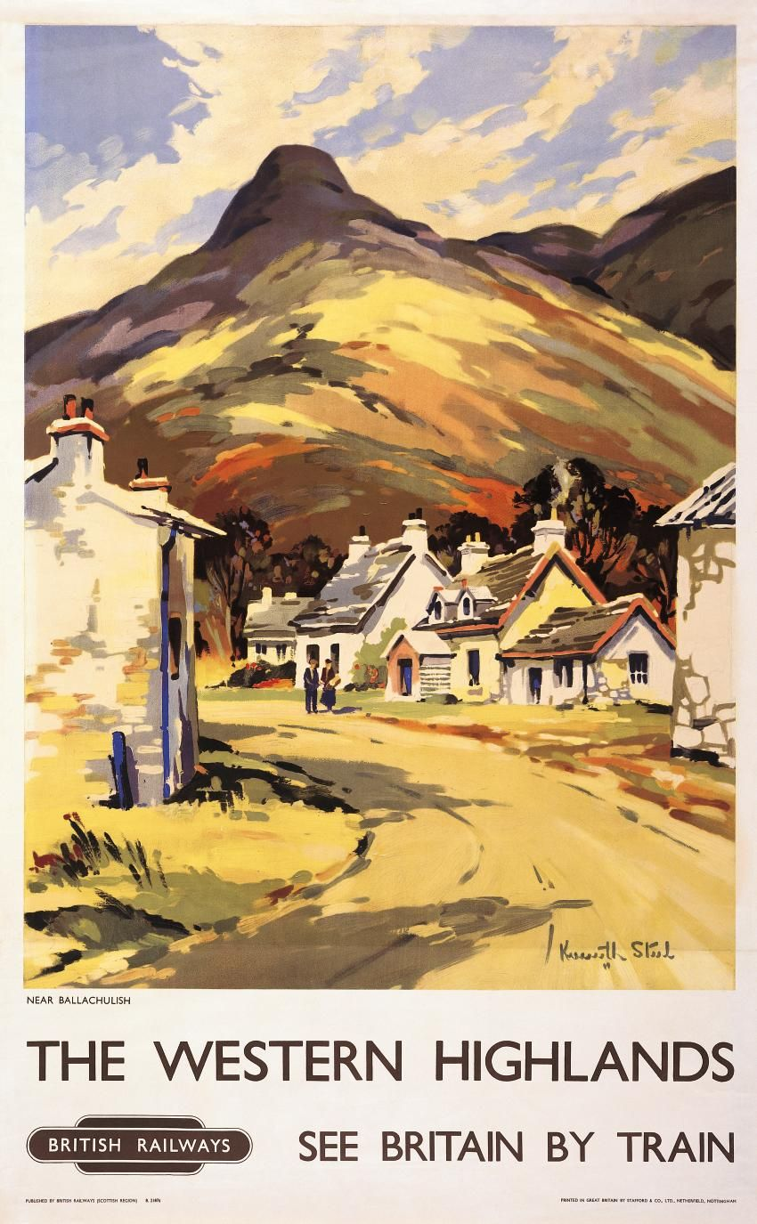 Western Highlands Vintage Railway Travel Poster Print Near ...