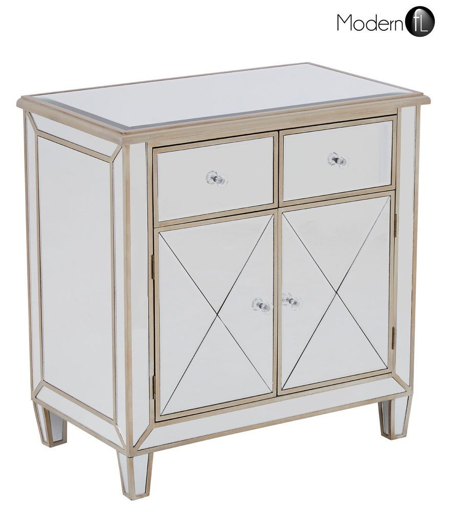 timeless design f3519 19b4b SMALL MIRRORED SIDEBOARD WITH CHAMPAGNE GOLD TRIM, 2 DRAWER ...