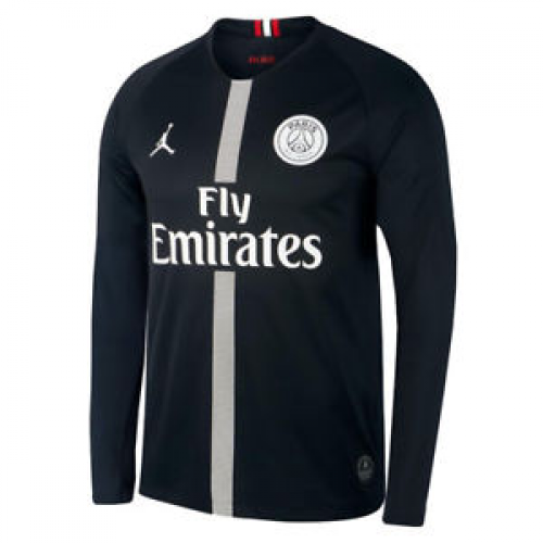 05ef8bee0aa 18-19 PSG JORDAN 3rd Away Black Long Sleeve Soccer Jersey Shirt ...