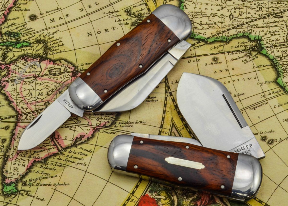 #46 Tidioute Cutlery Whaler Pocket Knives in Cocobolo Wood