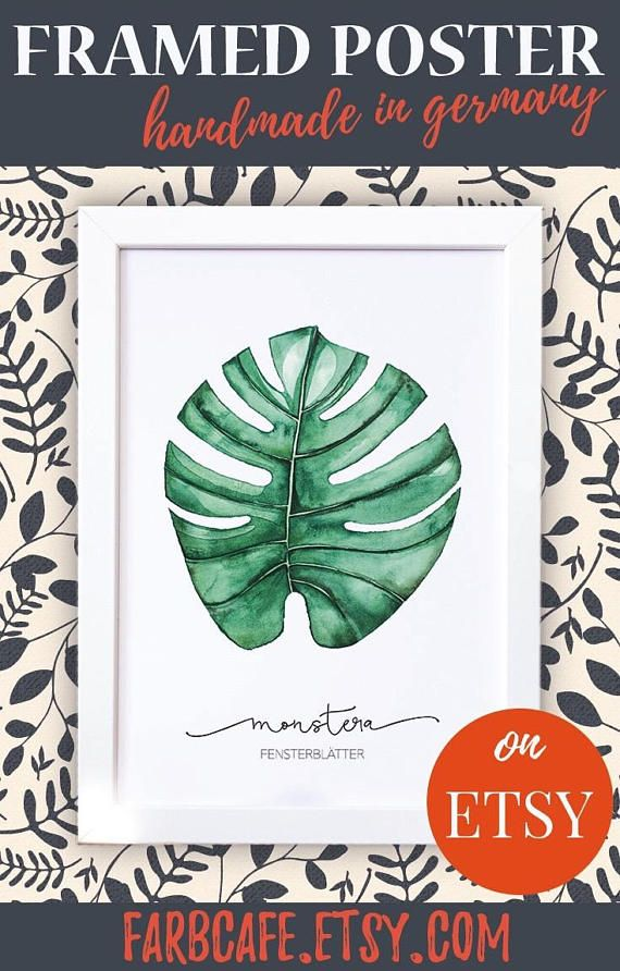 Poster mit Rahmen A4 Monstera botanisches Aquarell mit | ☆ Etsy ...