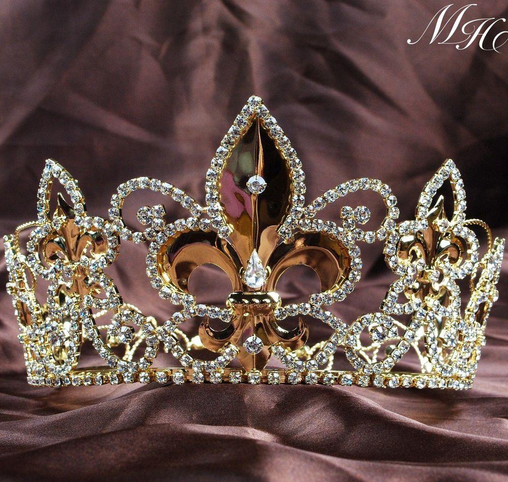 Crowns full circle round tiaras rhinestones crystal wedding bridal - Noble Full Round Crowns King Queen Gold Tiaras Wedding Bridal Pageant Prom Party