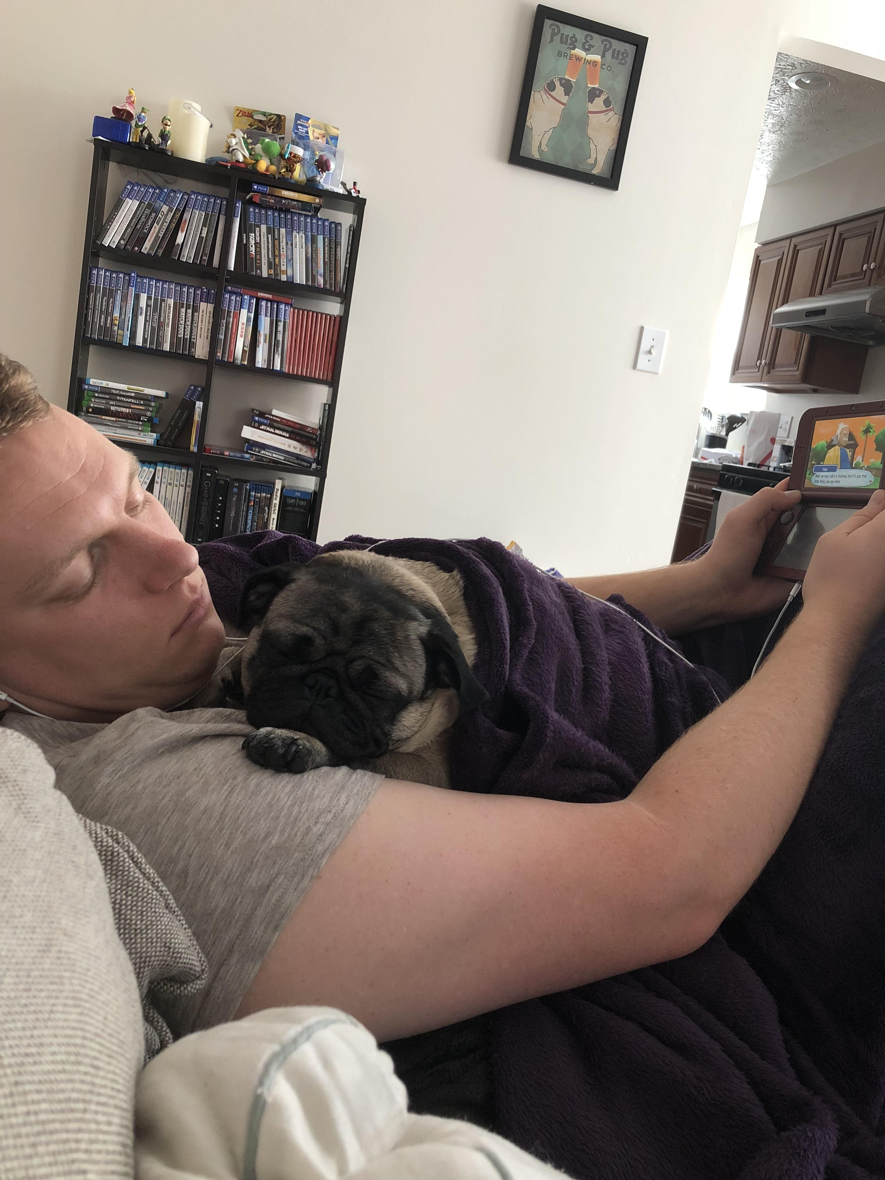 Sweet Chloe taking a Saturday morning nap on her daddy