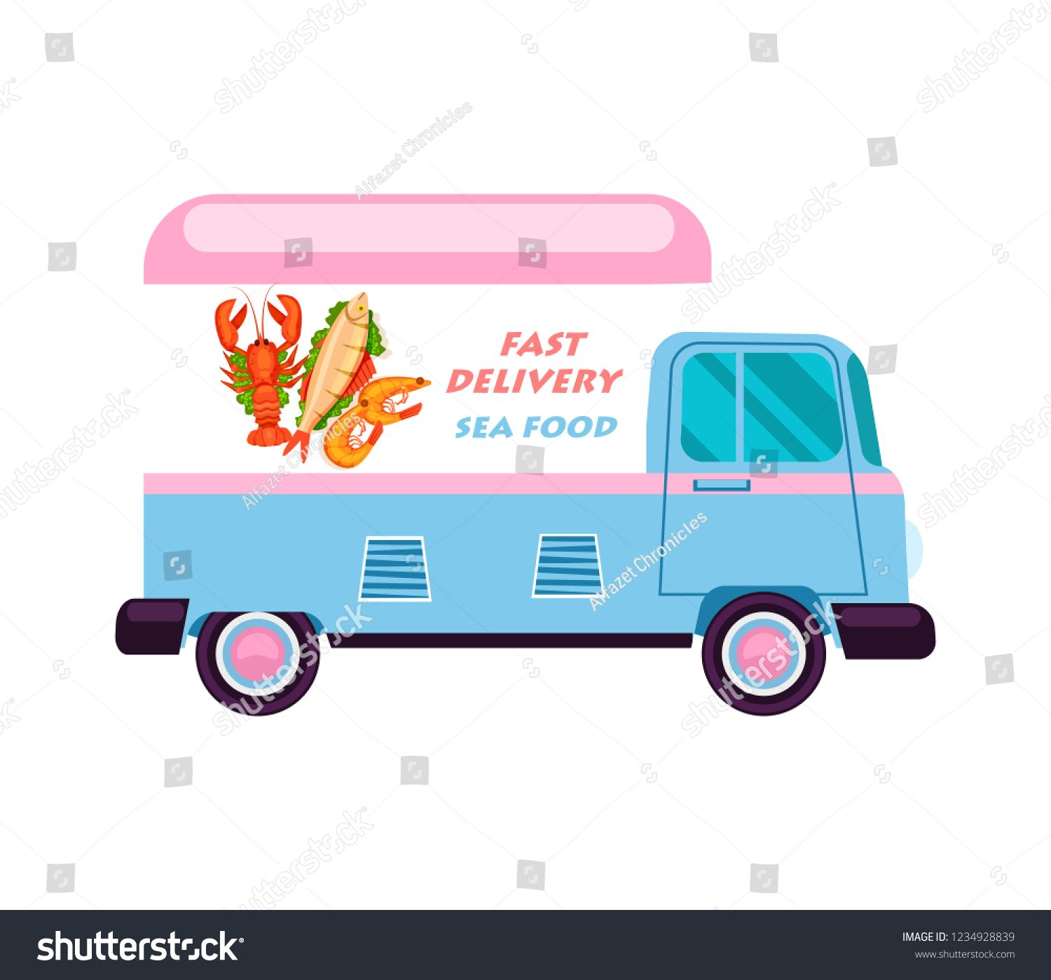 Sea Food Delivery Van Icon Order Food On Home Product Shipping