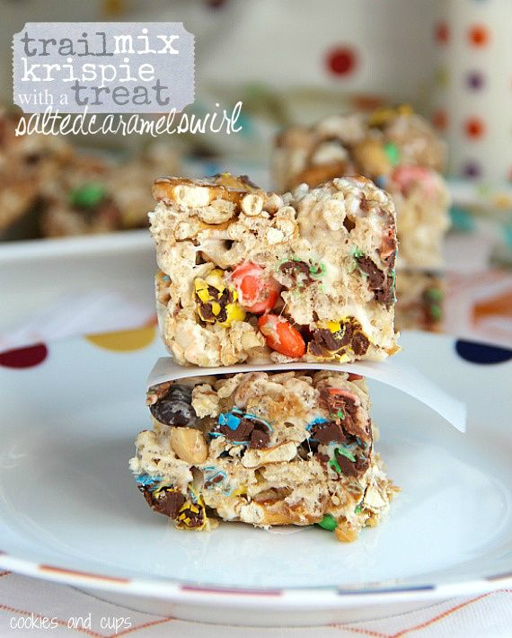 Trail Mix Krispie Treats with a Salted Caramel Swirl