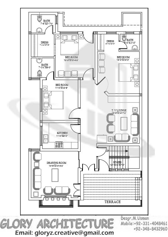 35 x 70 ff working plans pinterest house smallest House plan drawing 3d