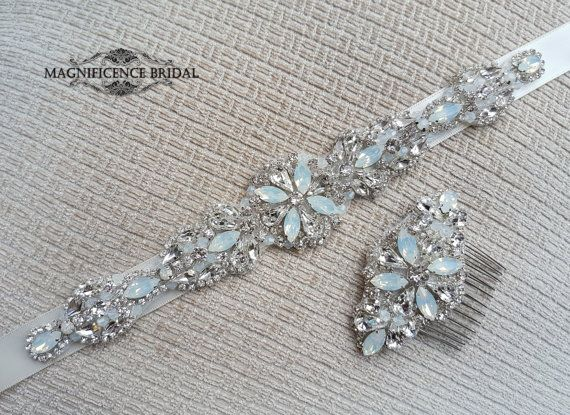 Opal bridal belt, Swarovski belt, opal sash, luxury bridal sash, diamante belt, opal belt, bridal belt, couture belt, diamante bridal sash, opals sash belt, milky white belt, wedding belt, sparkle belt, bridal set