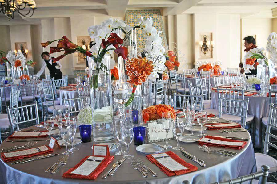 Orange Blue And Silver Decor Crown Weddings Events Pinterest