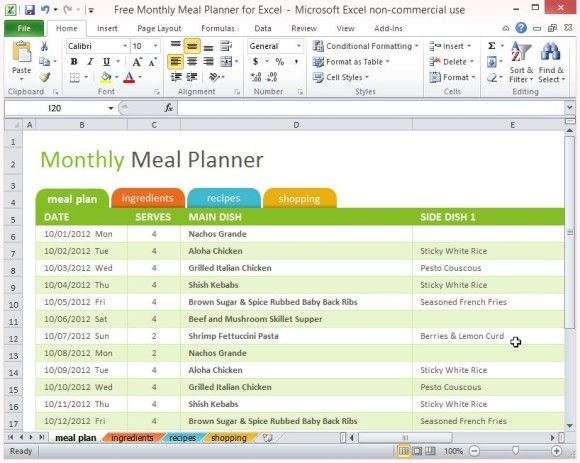 free-monthly-meal-planner-for-excel-1 | Meal Planning | Pinterest