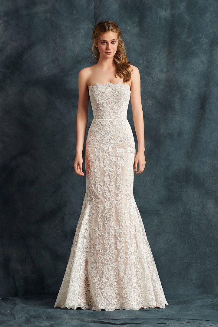 Mermaid gown in satin and lace with straight neckline - Atelier Eme 2017 Wedding Dresses | fabmood.com #weddingdress #ateliereme #bridal #bride #weddingdresses2017