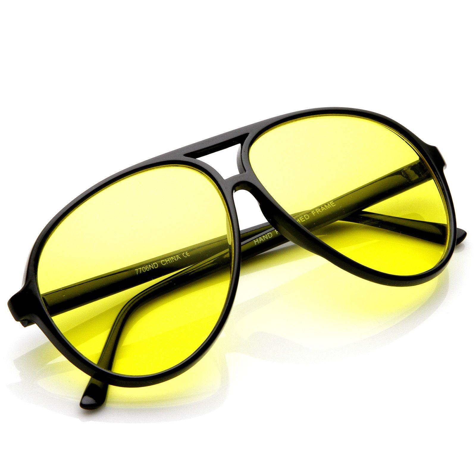 Retro 1980's Fashion Plastic Aviator Yellow Driving Lens