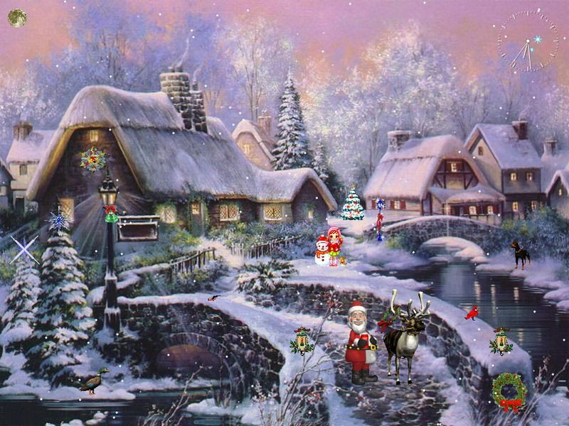 animated christmas backgrounds christmas desktop wallpapers christmas scenery desktop wallpapers - Animated Christmas Village