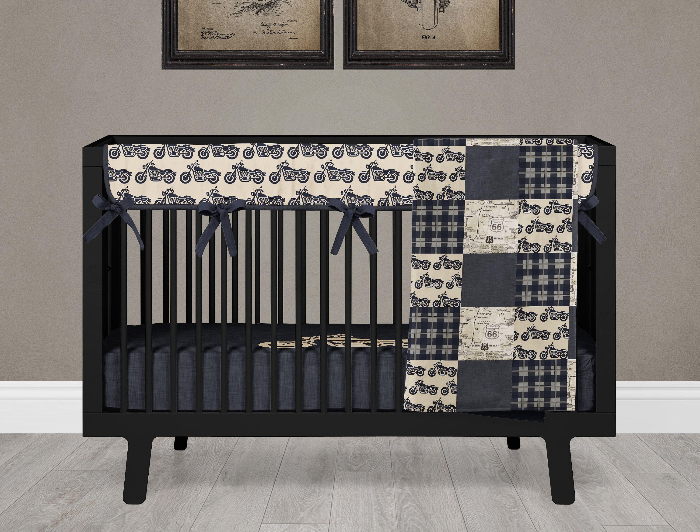 Motorcycle Boy Crib Bedding Set Baby Nursery Motorbike Blanket