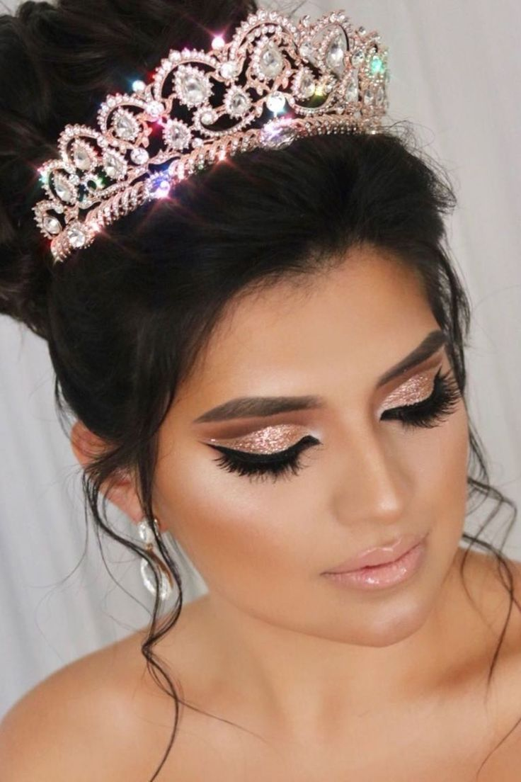 Photo of Rose Gold Quinceanera makeup and crown – everything is there