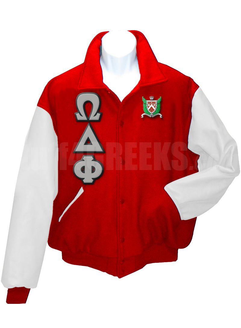 bbb9a31104 Red Omega Delta Phi Letterman Varsity Jacket with white sleeves