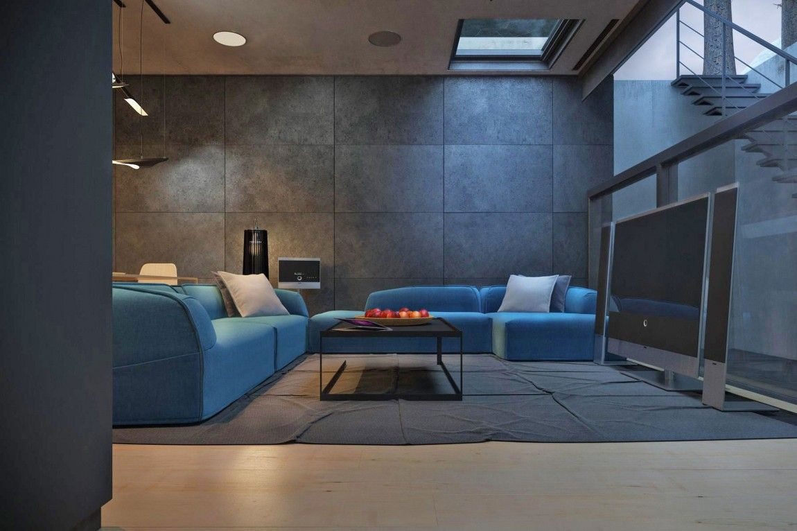Romantic Blue Sofas With Square White Cushion Feats Ceramics Tile ...