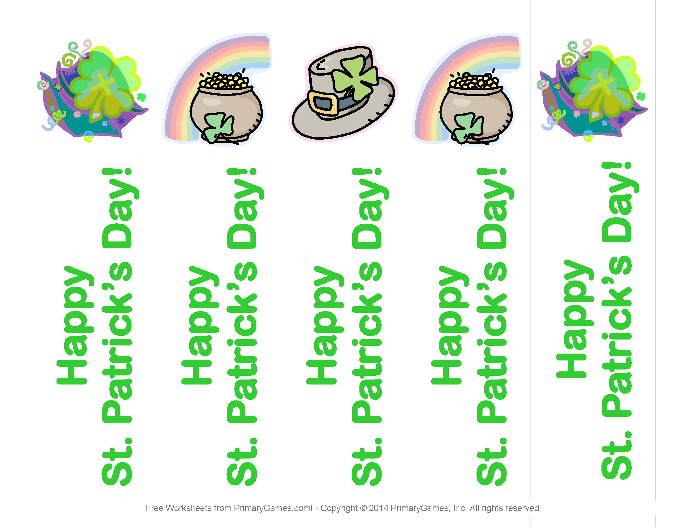 St Patrick S Day Worksheets St Patrick S Day Bookmarks