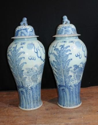 Large Chinese Nanking Pottery Urns Vases Architectural 4ft Tall