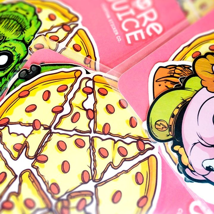 The pizzagram sticker with 5 other randomly selected high quality stickers the pizzagram sticker has a transparent background no white border as