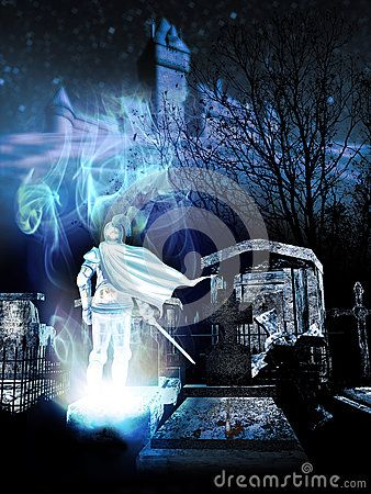 Ghost Of Knight Coming Out From A Graveyard At The Foot Of A Hill And A Medieval Castle At Night