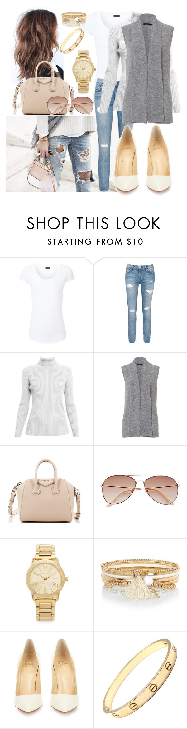 """""""Untitled #210"""" by nikkiemery ❤ liked on Polyvore featuring Joseph, Current/Elliott, Rumour London, Olsen, Givenchy, H&M, Michael Kors, River Island, Christian Louboutin and Cartier"""
