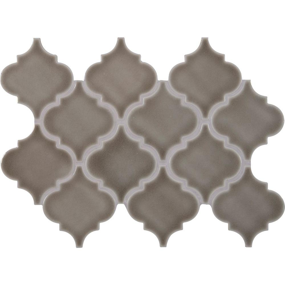 Ms International Dove Gray Arabesque 10 5 In X 15 5 In X 8 Mm Glazed Porcelain Mesh Mounted Mosaic Wall Mosaic Wall Tiles Arabesque Tile Ceramic Mosaic Tile