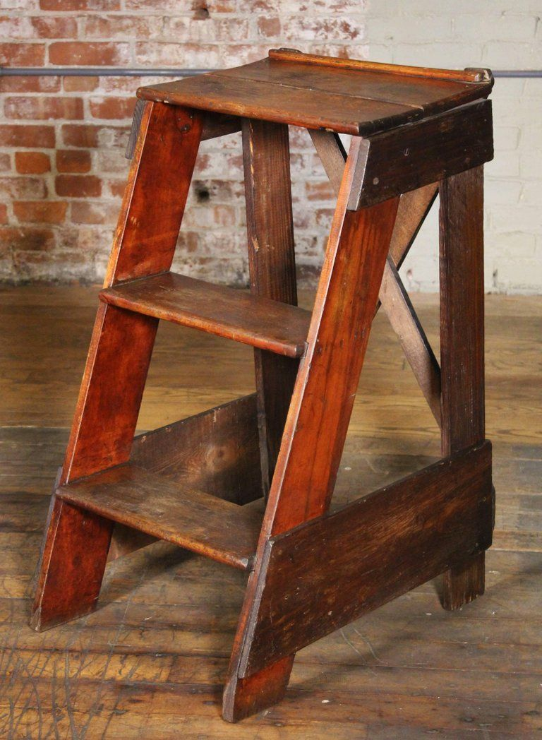 Best Wooden Step Ladder Vintage Antique Moveable Wood Factory 400 x 300