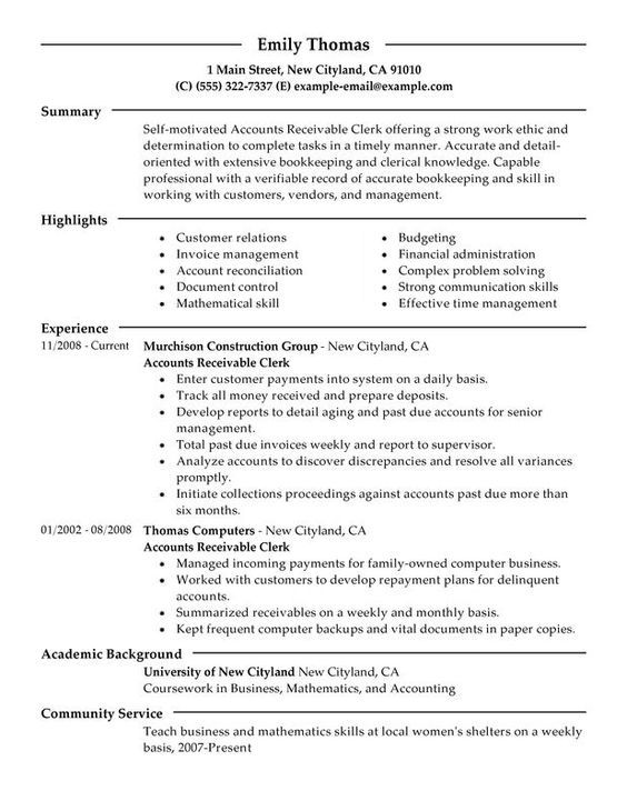 Accounts Receivable Clerk Resume Sample Just for fun Pinterest - accounting bookkeeper sample resume