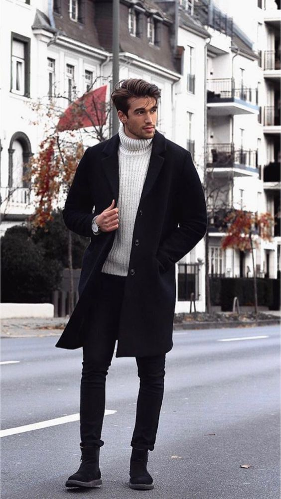 Turtleneck And Overcoat With Skinny Jeans Streetstyle