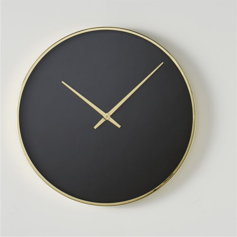 Solitaire Black and Gold Wall Clock + Reviews   CB2