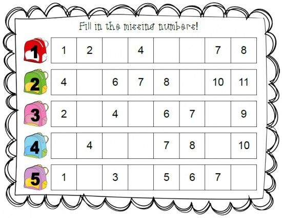 Fill In The Missing Numbers   Numbers preschool, Kids math ...